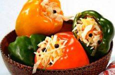 Рецепт консервированных перцев, фаршированных капустой