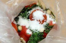 Заготовка малосольных помидор в пакете