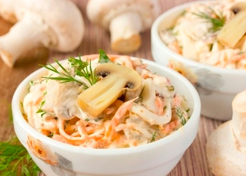 Салат с курицей грибами и корейской морковью рецепт