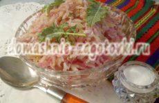 Салат из капусты кольраби с редькой