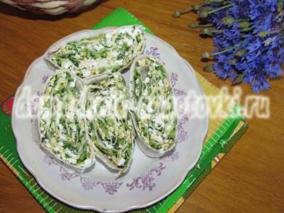 рулет из лаваша с творогом и зеленью