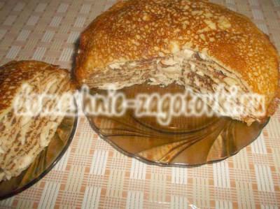 блинный пирог с курицей