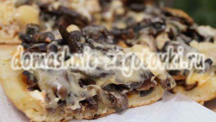 Пицца на сковороде за 10 минут с грибами