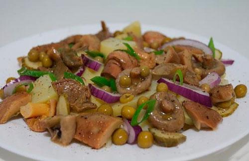 Салат из картофеля с маринованны грибами